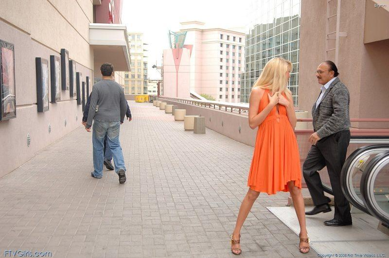 brynn flash in public bottomless orange dress ftvgirls 02 800x531