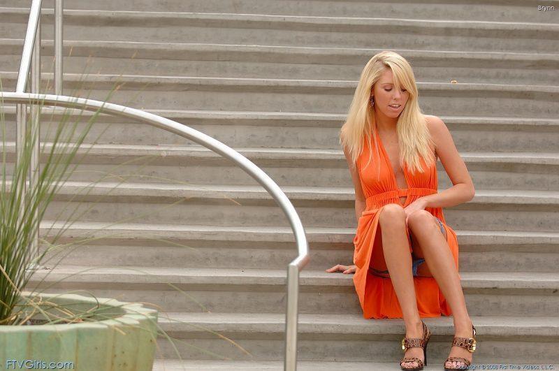 brynn flash in public bottomless orange dress ftvgirls 25 800x531