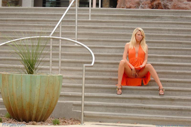 brynn flash in public bottomless orange dress ftvgirls 39 800x531
