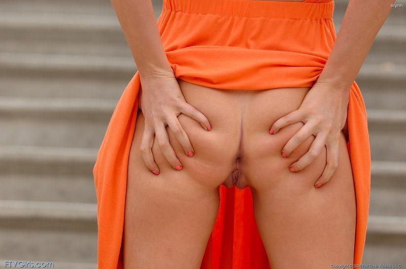 brynn flash in public bottomless orange dress ftvgirls 44 800x531