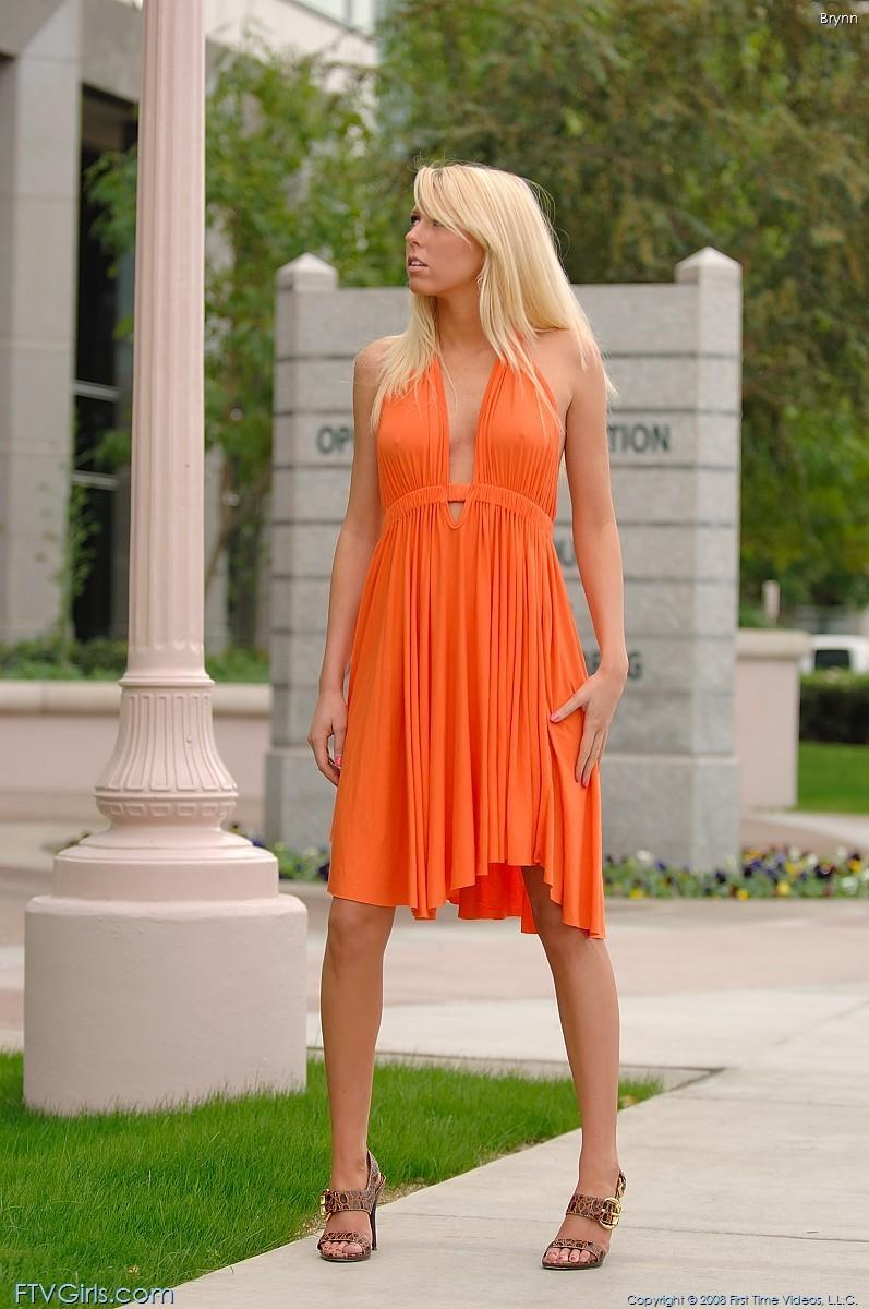 brynn flash in public bottomless orange dress ftvgirls 46