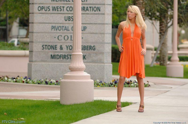 brynn flash in public bottomless orange dress ftvgirls 47 800x531