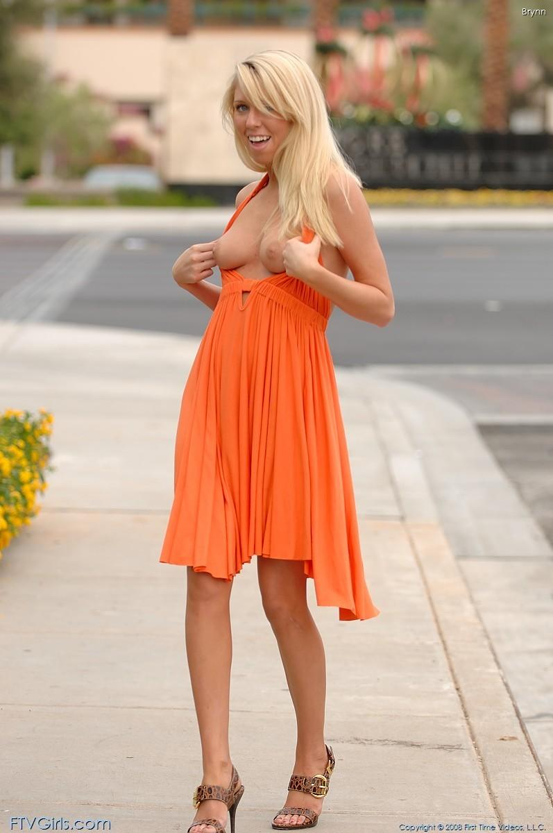 brynn flash in public bottomless orange dress ftvgirls 50