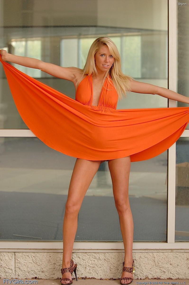 brynn flash in public bottomless orange dress ftvgirls 61