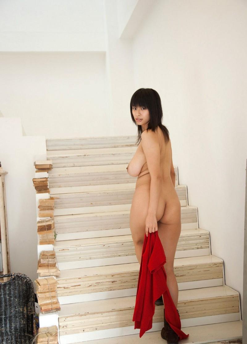 hana haruna red jumper busty asian nude 15 800x1116