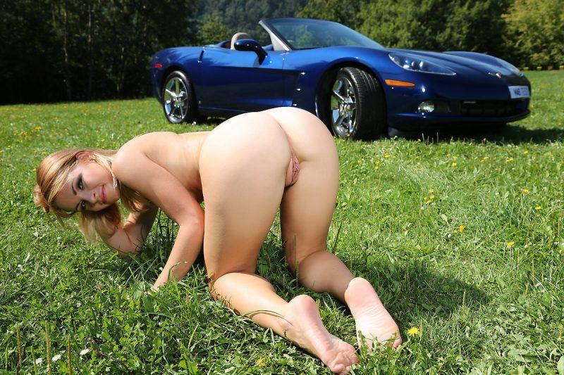 Naked girl on corvette all