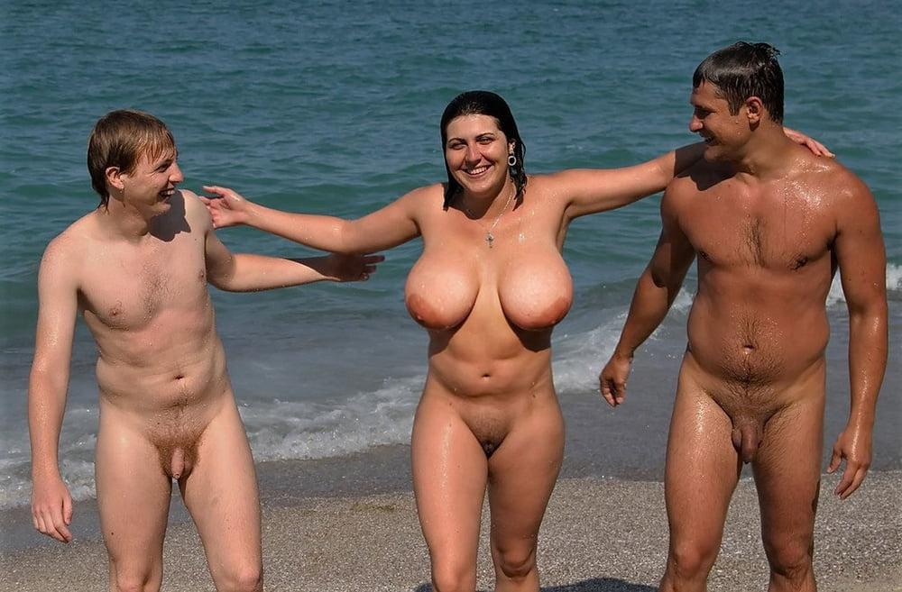big boob at the beach